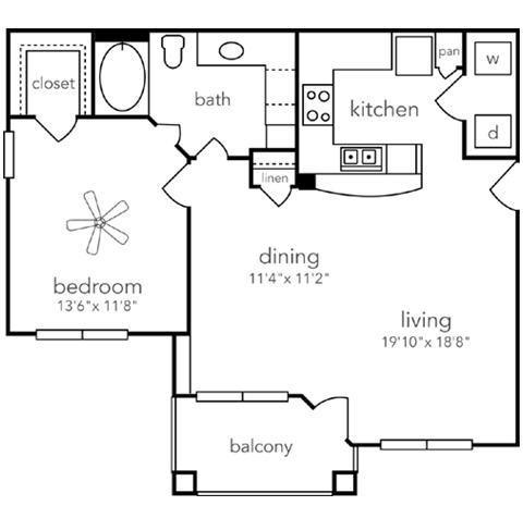 837 sq. ft. Del Rio floor plan