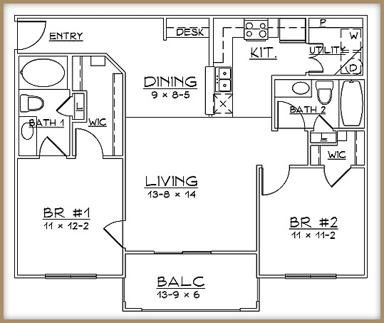 983 sq. ft. B1/60% floor plan