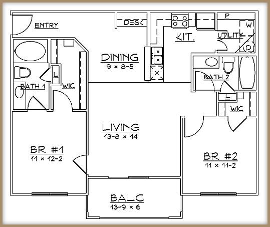 983 sq. ft. B1/60% floor plan