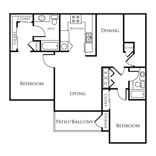 983 sq. ft. EBAN II floor plan