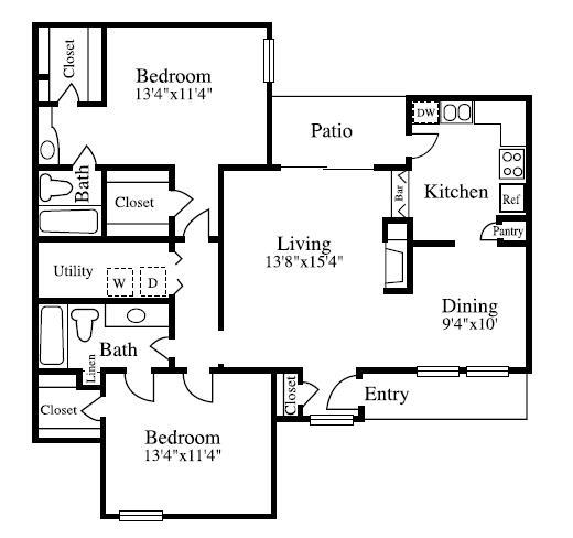 1,189 sq. ft. B3 floor plan
