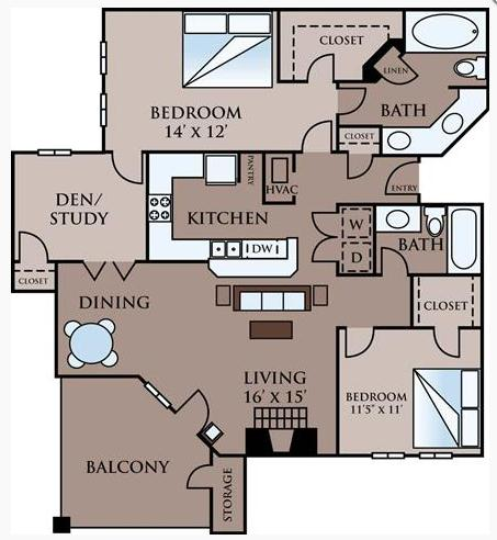1,296 sq. ft. D floor plan