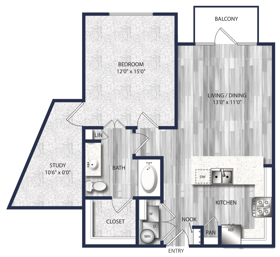 909 sq. ft. A4A floor plan