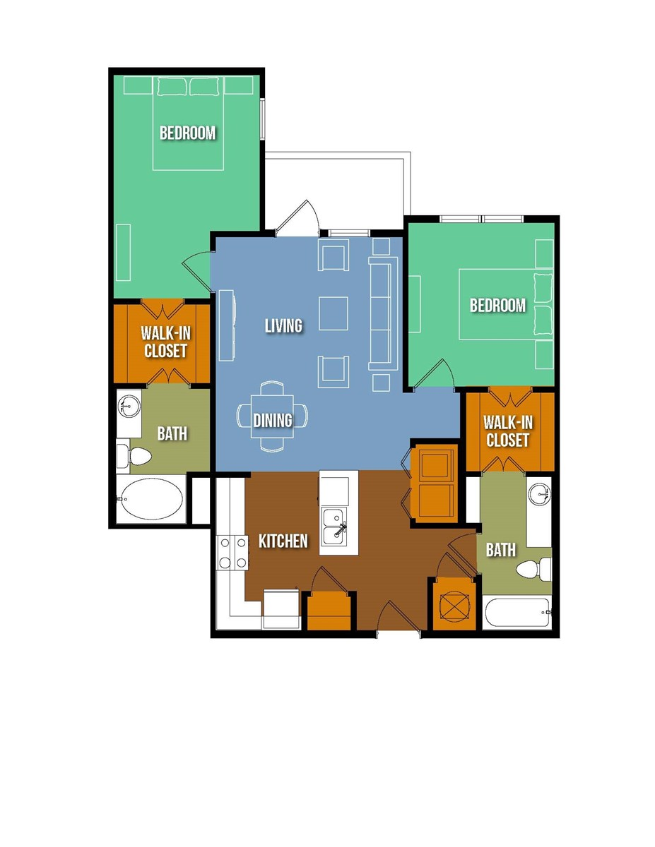 1,010 sq. ft. Jose Arpa floor plan