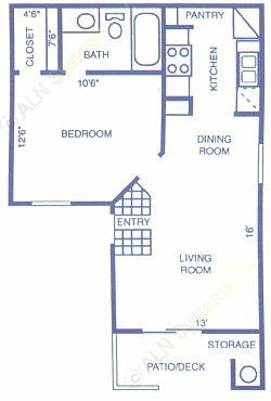 516 sq. ft. PINON floor plan