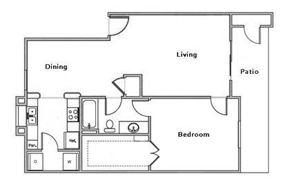 749 sq. ft. B1 floor plan