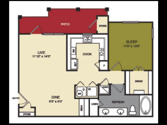 789 sq. ft. Colorado floor plan