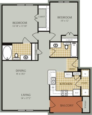 1,112 sq. ft. B1/50% floor plan