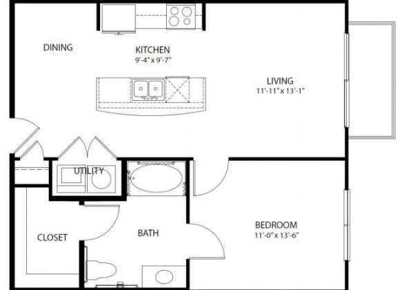 725 sq. ft. A1 PH3 floor plan