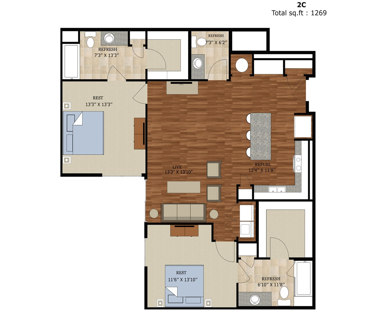 1,269 sq. ft. 2CANSI floor plan
