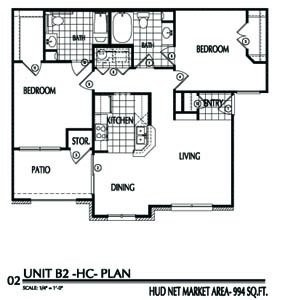 994 sq. ft. B2/60% floor plan