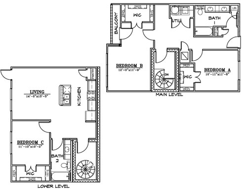 1,452 sq. ft. C5 floor plan