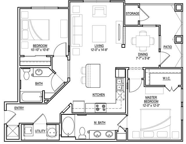 1,037 sq. ft. B2 floor plan