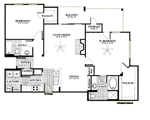 1,243 sq. ft. D7 floor plan