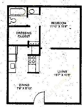 502 sq. ft. A1 floor plan