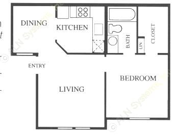 523 sq. ft. A1-Base floor plan