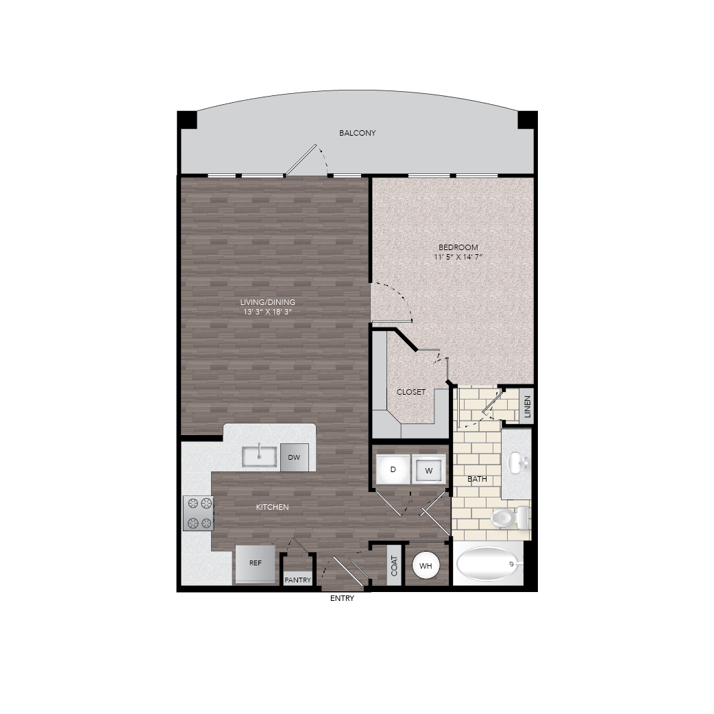 780 sq. ft. A8 floor plan