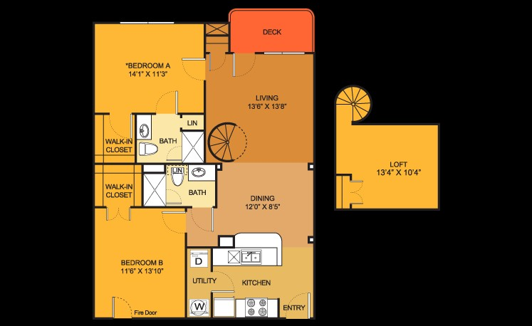 1,027 sq. ft. B5 floor plan