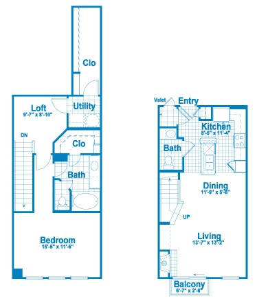 1,067 sq. ft. L1.1 floor plan