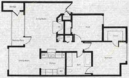 827 sq. ft. A3 floor plan