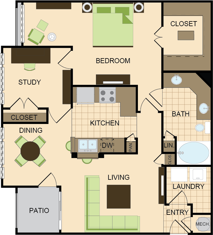 1,032 sq. ft. C floor plan