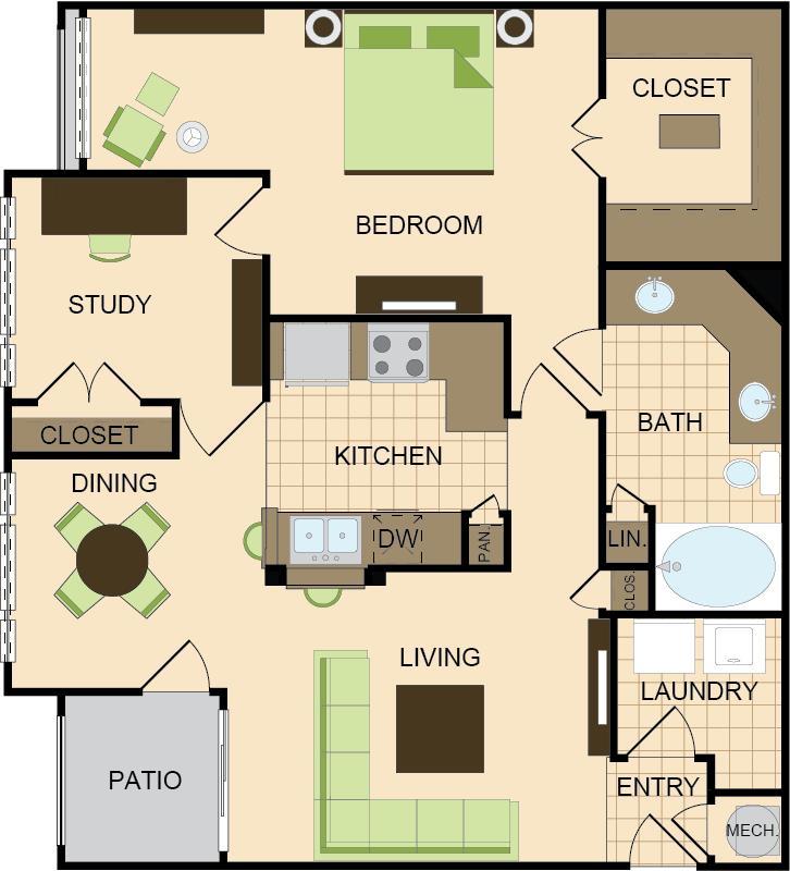 1,032 sq. ft. C floor plan