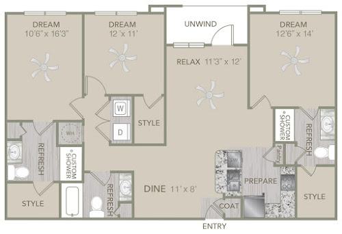 1,409 sq. ft. C1 floor plan