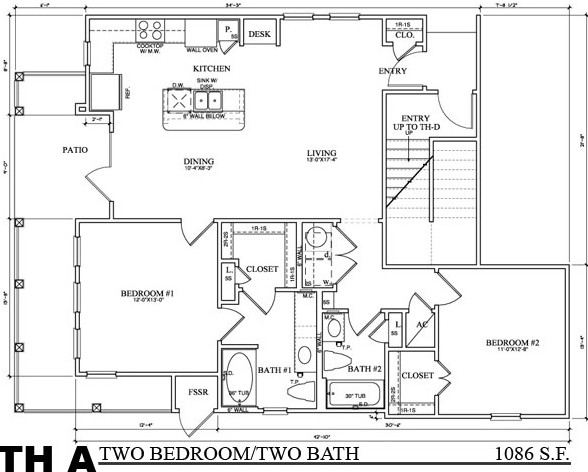 1,092 sq. ft. TH A floor plan