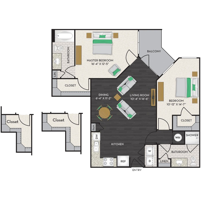 1,113 sq. ft. B4A floor plan