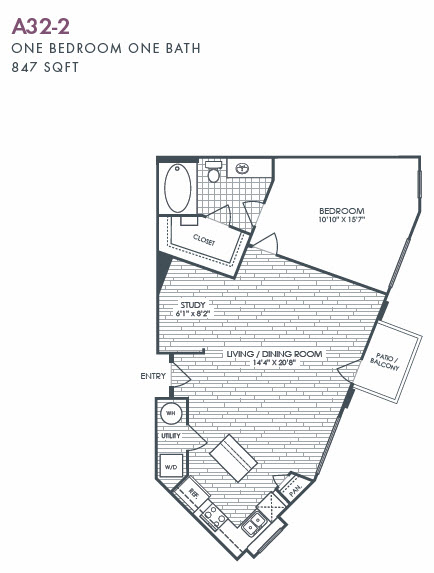 847 sq. ft. A32-2 floor plan