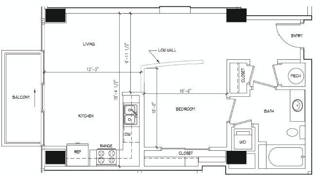 672 sq. ft. ADAMS floor plan