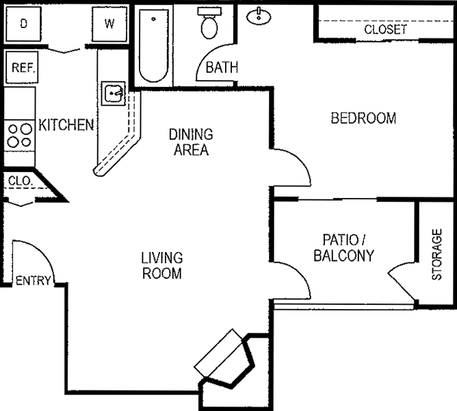 650 sq. ft. A2/50% floor plan