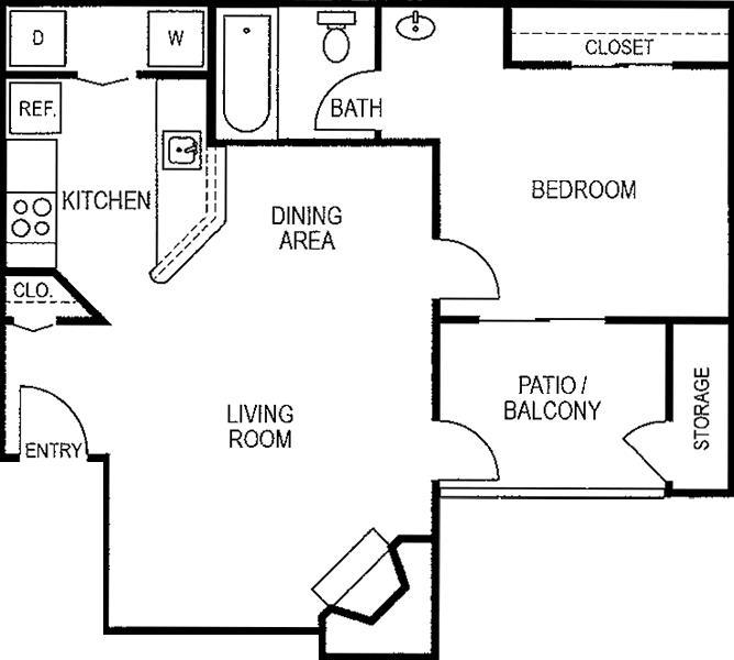650 sq. ft. A2/50% floor plan