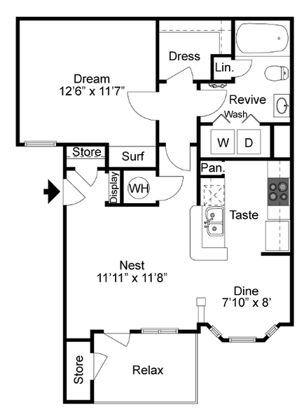 689 sq. ft. I-A floor plan