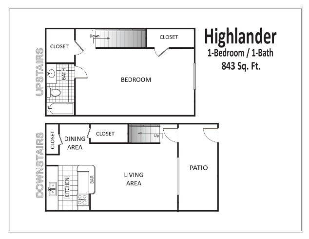 843 sq. ft. floor plan