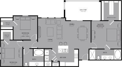 1,532 sq. ft. Midtown floor plan