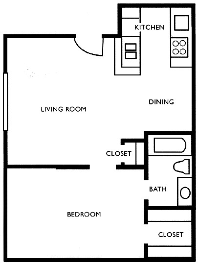650 sq. ft. E floor plan