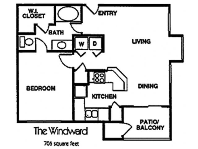 706 sq. ft. A1 floor plan