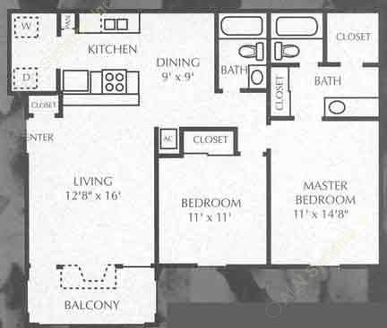 971 sq. ft. B5 floor plan