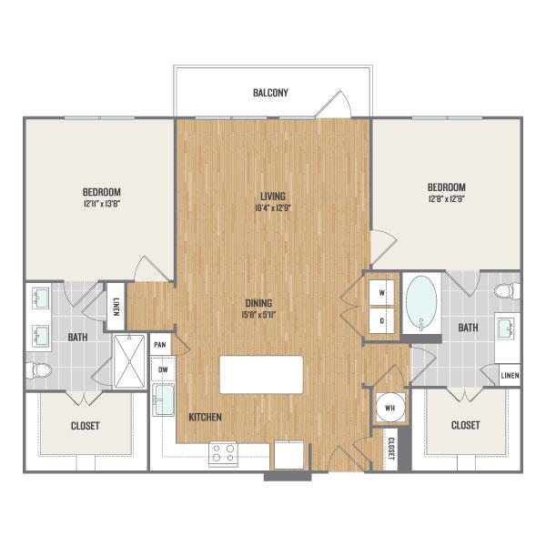 1,273 sq. ft. B4 floor plan