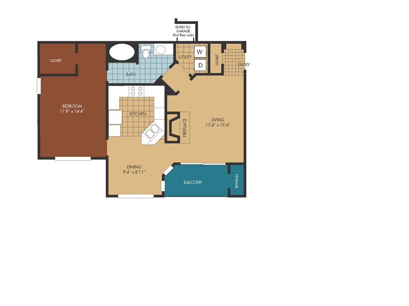 838 sq. ft. Elm floor plan