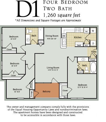 1,260 sq. ft. D1 60% floor plan