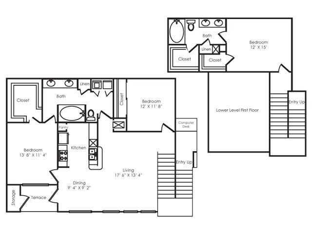 1,645 sq. ft. C2 floor plan