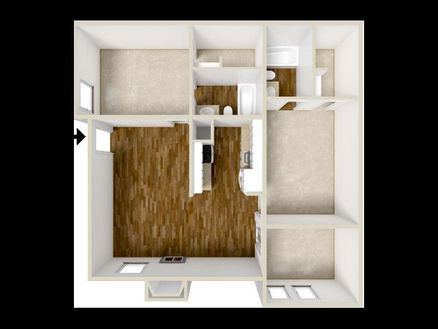 958 sq. ft. floor plan