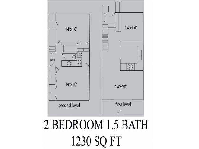 1,230 sq. ft. floor plan