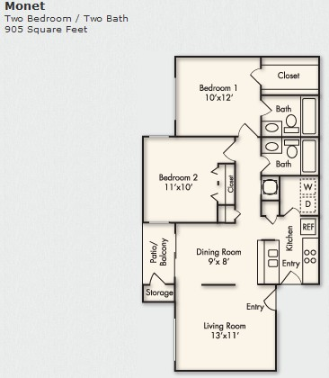 905 sq. ft. B-1 floor plan