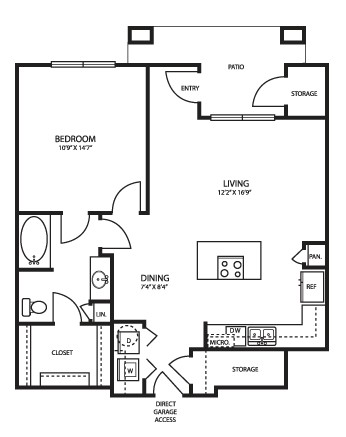 910 sq. ft. A3G1HC floor plan