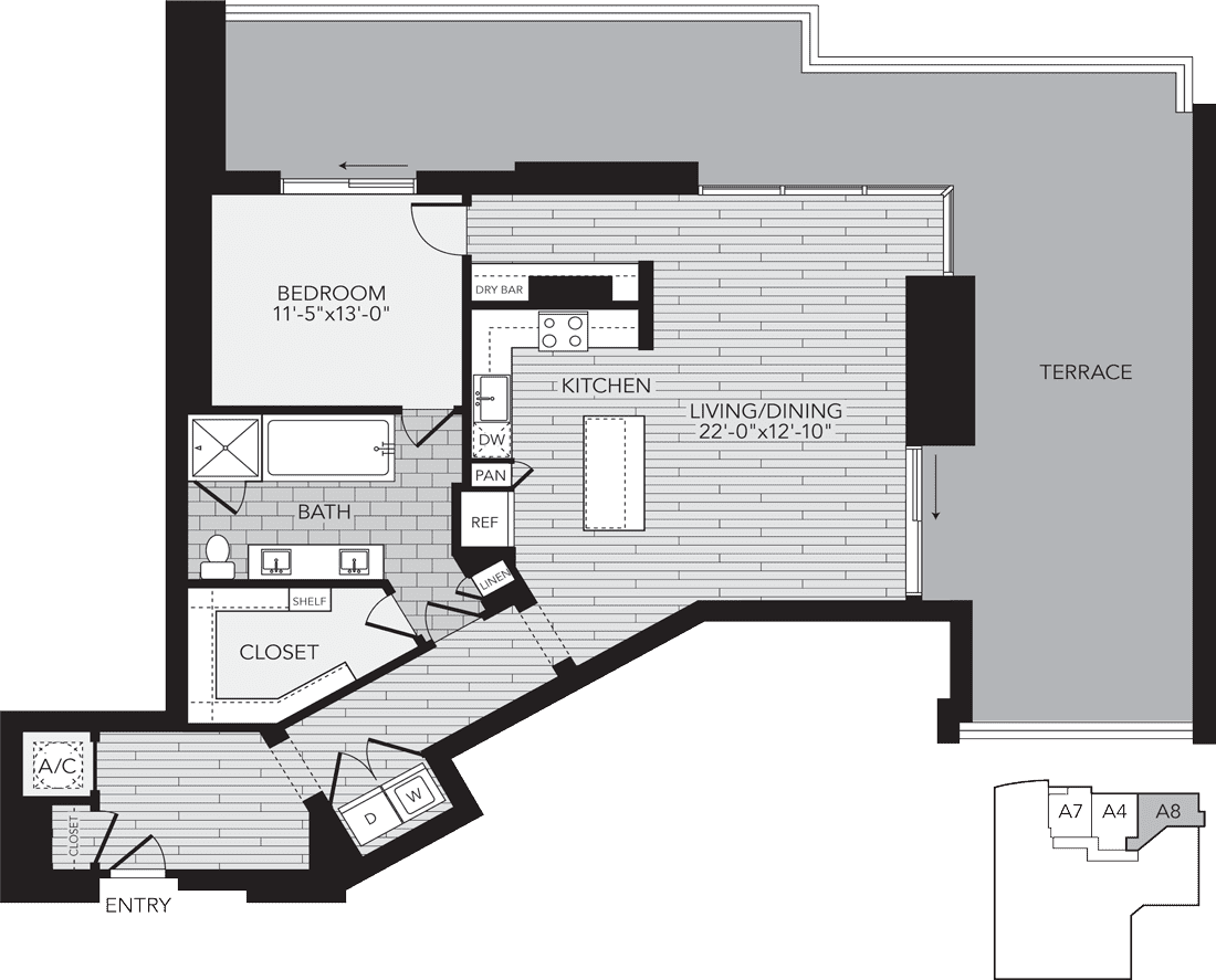 1,241 sq. ft. A8 floor plan
