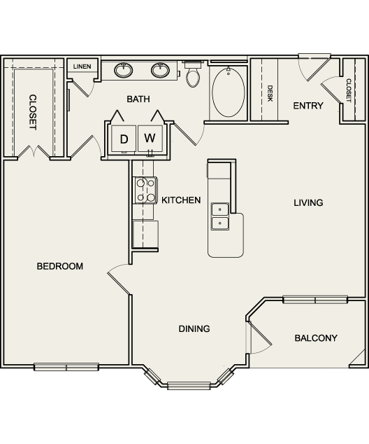 935 sq. ft. A3 floor plan