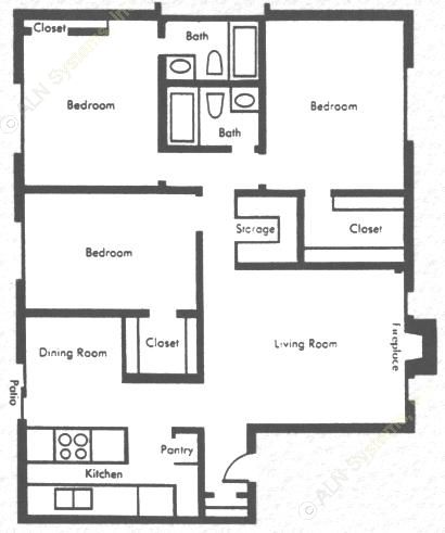 1,340 sq. ft. 3b2b floor plan